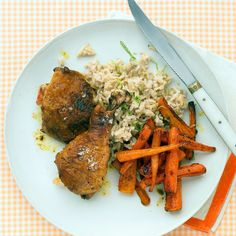 In this tasty chicken recipe, lime zest adds fragrance to rice, while lime juice gives carrots a citrus kick.