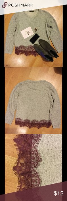 Atmosphere laced hem crew neck sweater Super soft and laced at the hem. It's casual and like new. It's 80% off original price. atmosphere Sweaters Crew & Scoop Necks