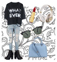 """""""What?"""" by agnesel ❤ liked on Polyvore featuring mode, Boohoo, Isaac Mizrahi, Ray-Ban, Beats by Dr. Dre et Michael Kors"""