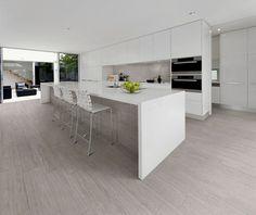 Live (grigio) - a modern porcelain tile collection by Abitare la Ceramica www.it Living Room Wood Floor, Wood Floor Kitchen, Kitchen Tiles, Kitchen Flooring, Wooden Flooring, Faux Wood Tiles, White Marble Kitchen, Small Kitchen Cabinets, Room Tiles