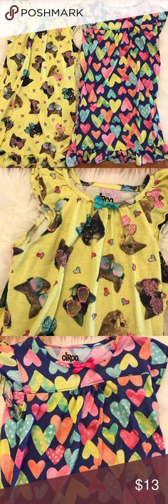 Hearts & Cool Kitties Flutter Sleeve Nightgowns M Circo Night gowns. Listing is for both cool kitties and hearts nightgowns. Size M 7/8 girls. Both have been worn. But neither have holes or stains. No trades. PleAse bundle for discount. Circo Pajamas Nightgowns