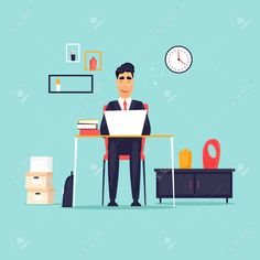 Businessman working in the office at the computer, workplace, interior. Office Colleague, Flat Design, The Office, Workplace, Ads, Interior, Illustration, Indoor, Illustrations