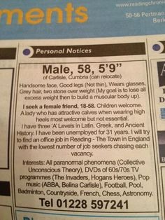 Newspaper dating ads