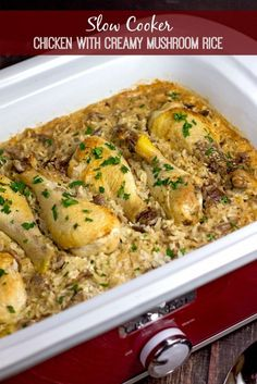 Slow Cooker Chicken with Creamy Mushroom Rice *JUST OK* MADE 5 chicken thighs 1 can oz) cream of mushroom soup 2 cups milk 1 clove garlic, minced 2 tbs onion, minced ¾ (Crockpot Chicken Meals) Slow Cooker Huhn, Crock Pot Slow Cooker, Slow Cooker Recipes, Cooking Recipes, Slow Cooker Chicken Rice, Crock Pots, Chicken Drumsticks Slow Cooker, Recipes With Chicken Drumsticks, Chicken With Rice