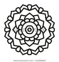 Simple Mandala Shape for Coloring. Vector Mandala. Floral. Flower. Oriental. Book Page. Outline. Design Art, Floral Design, Graphic Design, Mandala Design, Mandala Art, Simple Mandala, Cute Coloring Pages, Celtic Symbols, Hydrangeas