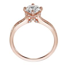 Rose gold diamond engagement ring with round center stone and diamond enhanced band. Style: Juliet #ArtCarvedBridal Available at Thomas S. Fox Diamond Jewelers in Grand Rapids, MI tsfox.com