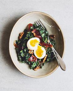 Gooey egg kale salad  | thegroundedkitchen.com