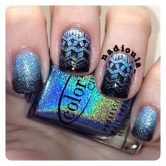 Gradient using Color Club Beyond and Over the Moon stamped using Bundle Monster BM402 in Wet n Wild Wild Shine Black Crème.