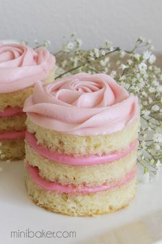 "cool way to present a cake. Mini Coconut Raspberry Valentine's Day ""Naked"" Rosette Cakes - Mini Baker"