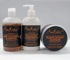 Shea Moisture ORGANIC African Black Soap Set II-Shampoo 12oz+Conditioner 12oz+Masque 12oz by Shea Moisture. $49.95. For Dry, Itchy Scalp // Dandruff, Eczema & Psoriasis. ALL SEALED PACKAGE. 1 x Purification Masque 12oz. 1 x Deep Cleansing Shampoo 12oz. 1 x Balancing Conditioner 12oz. BeautyOnline Special Package for your hair care: Get more products, spend less money! // Shea Moisture Organinc African Black Soap Deep Cleansing Shampoo w/ Plantain Enzyme, Tea Tre...