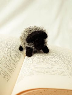 Needle Felted Bosley the Black and Gray Sheep Wooly