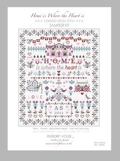 CROSS STITCH SAMPLER KIT 'HOME IS WHERE THE HEART IS'