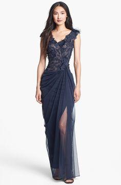 Tadashi Shoji Embellished V-Neck Tulle Gown