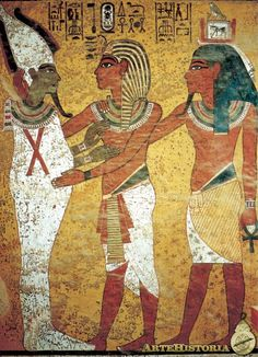 KV62, Egypt Toutankhamon embrassant Osiris, tombe de T. Nouvel empire.