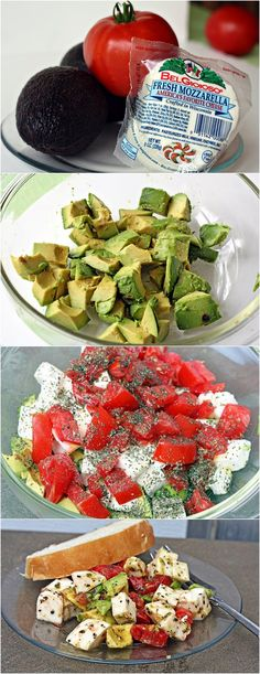 Avocado / Tomato/ Mozzarella Salad Ingredients: 2 avocados (peeled, pitted, & cubed) - 2 - 3 tomatoes (cubed) = 1 ball mozzarella (cubed) - 2 Tbsp olive oil - 2 tsp. basil - salt & pepper