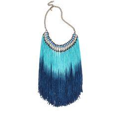 Colar com cristais tchecos e franjas em tons de azul