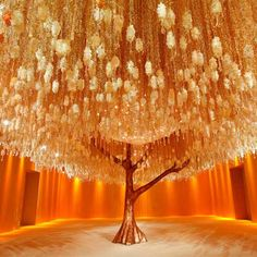 Floral and crystal chandelier tree