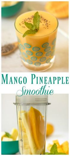 Mango Pineapple Smoothie | Whip up this 3 ingredient simple smoothie for a treat or breakfast! Add Chia seeds for extra protein. TodaysCreativeLife.com