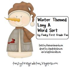 Funky First Grade Fun: Winter Themed Long A Word Sort - Freebie Word Study Activities, Snow Activities, First Grade Activities, Teaching First Grade, Kindergarten Activities, Classroom Activities, Classroom Ideas, Vowel Activities, Educational Activities