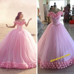 blush pink tulle ball gown flowers wedding dresses for bride Wedding Dresses With Flowers, Princess Wedding Dresses, Colored Wedding Dresses, Gala Dresses, Ball Gown Dresses, Pink Quinceanera Dresses, Debut Gowns, Beautiful Dresses, Nice Dresses
