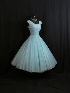Vintage années 50 50 s Turquoise Bleu plissé en par VintageVortex