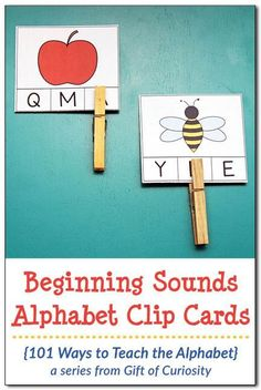 Clip Cards Ways to Teach the Alphabet} FREE printable Beginning Sounds Alphabet Clip Cards for kids who are learning to identify the initial sounds of words and match those sounds to letters. Preschool Literacy, Preschool Printables, Literacy Centers, Free Printables, Kindergarten Centers, Free Preschool, Preschool Worksheets, Kindergarten Classroom, Learning Centers