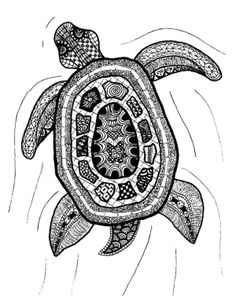 Zentangle Art | Zentangle Turtle Print by Printfox on Etsy by Keunsup Shin