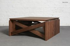 Mini Oak Coffee Table Flips Into Full-sized Table