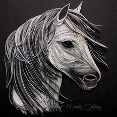 Quilled White Horse   12x12