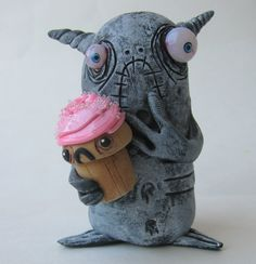 lowbrow highbrow one of a kind polymer clay funny by mealymonster, $26.00