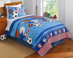 Opentip.com: PEM America QS8997TW-2300 Sports and Stars Twin Quilt with Pillow Sham