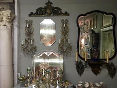 "Antique Italian Macaroni Beaded Crystal Gilt Sconces   30"" High x 13"" Wide   $2600 Pair   Country Garden Antiques 147 Parkhouse  Dallas, TX 75207  Read our blog: http://countrygardenantique."