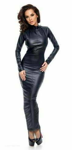 Long leather hobble dress