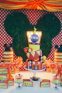 cd190b7e4 Cakes from a Mickey Mouse Circus Birthday Party via Kara s Party Ideas  KarasPartyIdeas.com (