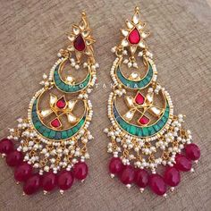 How can a chandbali collection be complete without a double chandbali You hot favorite pair - Jewelry Design Earrings, Designer Earrings, Necklace Designs, Hindus, India Jewelry, Gold Jewellery, Indian Earrings, Wedding Jewelry, Jewelry Collection