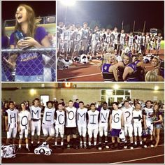How to ask a girl to homecoming: grab a few of your closest football friends and surprise her right after you win the game. Never forget to record her reaction though. :)