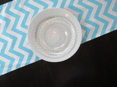 Chevron Table Runner in Aqua Blue & White, Modern Runner for Parties, Showers, Wedding, Wedding Deco Chevron Table Runners, Aqua Blue, Blue And White, Free Fabric Samples, Premier Prints, Fabric Ribbon, Color Pop, Great Gifts