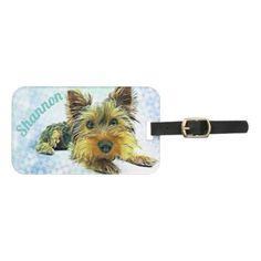 #Custom Pastel Puppy Dog Yorkie Yorkshire Terrier Bag Tag - cyo customize do it yourself diy