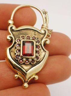 Victorian English Garnet Pearl Locket Pendant 10K YG