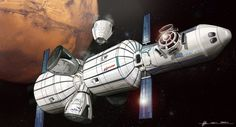 Concept art for SpaceX's Mars Colonial Transporter by Euan Gray - a spaceship with Bigelow inflatable modules and several Dragon landers. Spaceship Art, Spaceship Design, Spaceship Concept, Concept Ships, Concept Art, Spacex Mars, Spacex Starship, Lego Space Station, Mars Project