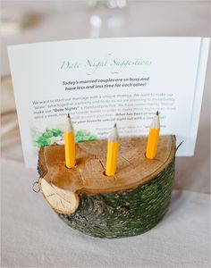 date night suggestions instead of guest book — what an awesome idea!