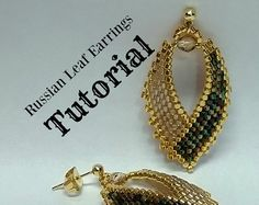 Russian Leaf Earrings, TUTORIAL, done in brick stitch