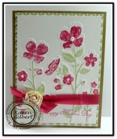 SU! Wildflower Meadow stamp and embossing folder; Gingham Garden DSP; colors are Rose Red and Pear Pizzazz on Whisper White with Burnt Brown Sugar card base - Karen Gilbert