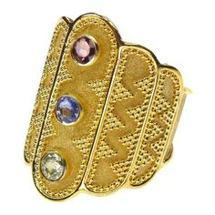 Damaskos 3 Sapphire Gold Ring, 18k Gold and Sapphires.This and more handmade Greek jewelry at Athena's Treasures: www.athenas-treasures.com