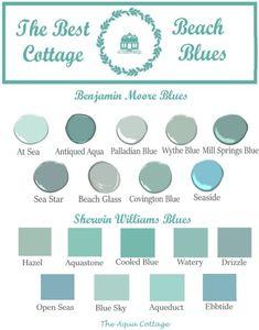 Coastal Paint Colors, Room Paint Colors, Paint Colors For Home, Stain Colors, Beach Cottage Style, Beach Cottage Decor, Coastal Decor, Aqua Decor, Coastal Cottage