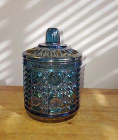 Indiana Glass Blue Sugar Dish Candy Jar with Lid