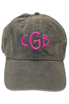 This personalized faded charcoal baseball hat is a 6 panel, unstructured, low profile hat made of cotton twill with an adjustable strap to fit most adults. It makes for a wonderful birthday gift or graduation gift! Turnaround time is 5-7 business days. For customization, please email Stylist@shoptiques.com with you choice of thread color, monogram style and monogram initials.     All custom items are final sale.   Personalized Faded-Charcoal Hat by Party Cat. Accessories - Hats Austin, Texas