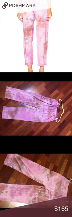 RAQUEL ALLEGRA RELAXED PANTS Beautiful fuchsia  silk tie dye pants.  92 %silk 8%spandex. Elastic waist. Side slur pockets. Back pocket as well. Can be worn cropped rolled up slightly. Shown with matching shirted tunic worn tucked or loosely draped. 28 in waist. 25 in inseam  11 in rise. Worn all year  looks great with grey sweaters or dusters in winter . Shirt sold separately - see closet Raquel Allegra Pants Ankle & Cropped