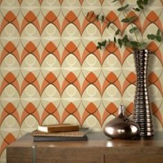 A Retro Styled Wallpaper Design Featuring An All Over Geometric Pattern