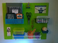 Keep your kids' homework station organized with this simple desk pegboard organizer.